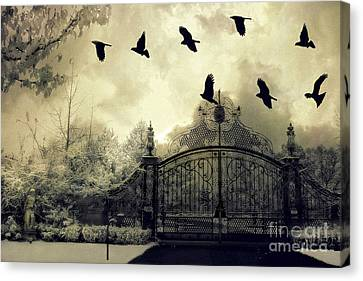 Surreal Gothic Spooky Haunting Gate With Ravens Canvas Print by Kathy Fornal