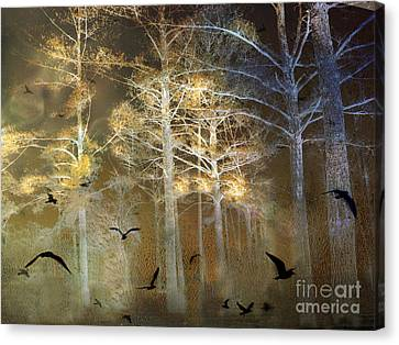 Surreal Haunting Fantasy Nature With Flying Ravens Canvas Print by Kathy Fornal