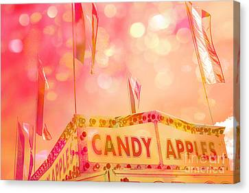 Surreal Hot Pink Yellow Candy Apples Carnival Festival Fair Stand Canvas Print by Kathy Fornal