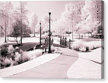 Surreal Infrared Dreamy Pink And White Park Tree Nature Path Landscape Canvas Print by Kathy Fornal