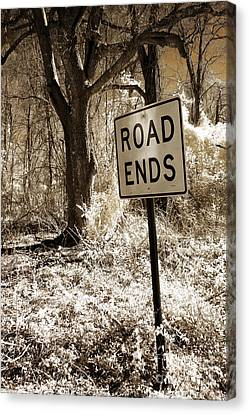 Surreal Infrared Sepia Nature - The Road Ends Canvas Print by Kathy Fornal