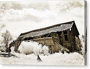 Surreal Infrared Sepia Old Crumbling Barn Landscape - The Passage Of Time Canvas Print by Kathy Fornal