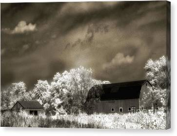 Surreal Infrared Sepia Rural Barn Landscape Canvas Print by Kathy Fornal