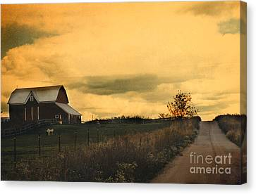 Surreal Michigan Farm Yellow Sky Rural Country Road Barn Landscape Canvas Print by Kathy Fornal