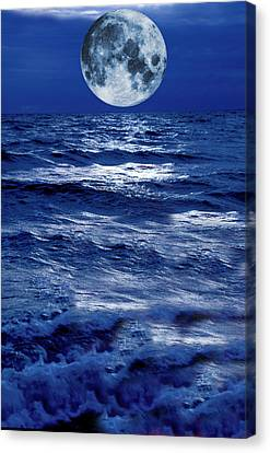 Surreal Moon Rise Over Stormy Waters Canvas Print by Christian Lagereek
