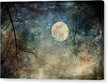 Surreal Night Sky Moon And Stars Canvas Print