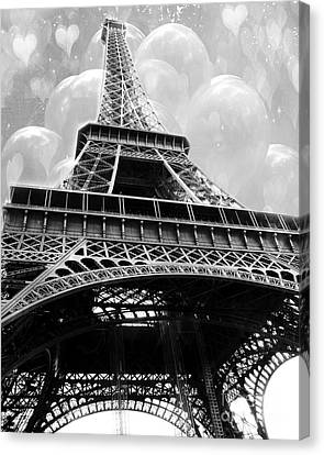 Surreal Paris Black And White Eiffel Tower With Balloons - Black And White Paris Fine Art Canvas Print by Kathy Fornal