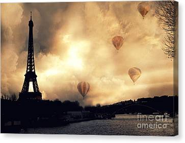 Surreal Paris Eiffel Tower Storm Clouds Sunset Sepia And Hot Air Balloons Canvas Print