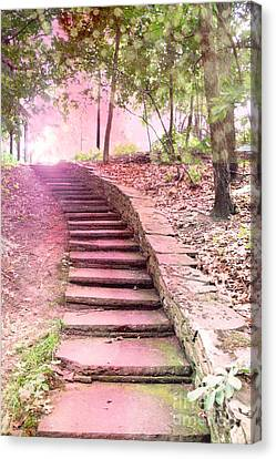 Surreal Pink Fantasy Dream Staircase In Woodlands Forest - Pink Stairs Pathway Canvas Print by Kathy Fornal
