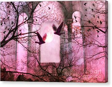 Surreal Pink Fantasy Forest Trees Nature With Flying Ravens Canvas Print by Kathy Fornal