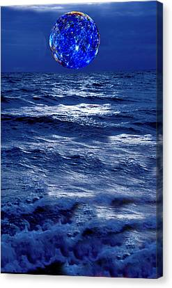Surreal Planet Rising Over Blu Waters Canvas Print by Christian Lagereek