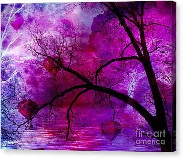 Surreal Abstract Fantasy Purple Pink Trees Hot Air Balloons Canvas Print by Kathy Fornal
