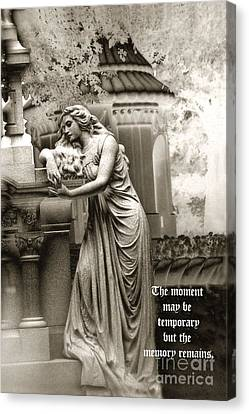 Surreal Romantic Female Cemetery Mourner At Grave Canvas Print by Kathy Fornal