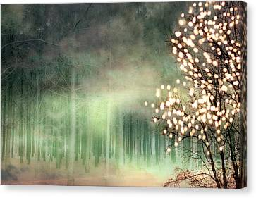 Surreal Sparkling Fantasy Nature - Green Sparkling Lights Trees Forest Woodlands Canvas Print by Kathy Fornal