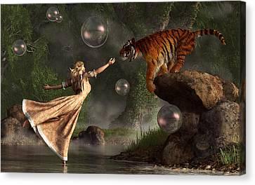 Surreal Tiger Bubble Waterdancer Dream Canvas Print by Daniel Eskridge