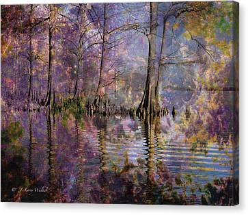 Canvas Print featuring the digital art Surrealistic Morning Reflections by J Larry Walker