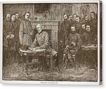Surrender Of General Lee Canvas Print by Alfred R Waud