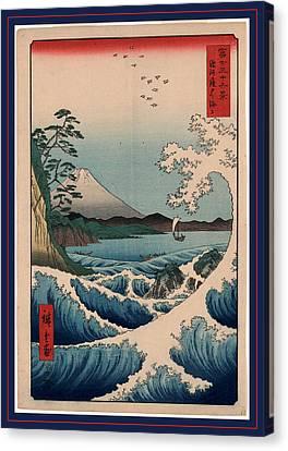 Suruga Satta No Kaijo, Sea At Satta In Suruga Province Canvas Print by Utagawa Hiroshige Also And? Hiroshige (1797-1858), Japanese