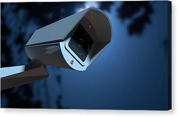 Surveillance Camera In The Night-time Canvas Print by Allan Swart