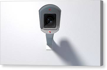 Surveillance Camera On White Canvas Print by Allan Swart