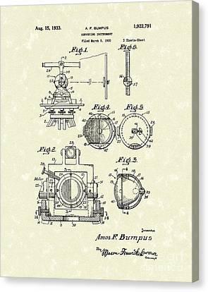 Surveying Instrument 1933 Patent Art Canvas Print