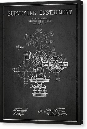 Surveying Instrument Patent From 1901 - Charcoal Canvas Print by Aged Pixel