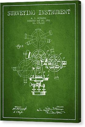 Surveying Instrument Patent From 1901 - Green Canvas Print by Aged Pixel