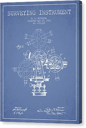 Surveying Instrument Patent From 1901 - Light Blue Canvas Print by Aged Pixel