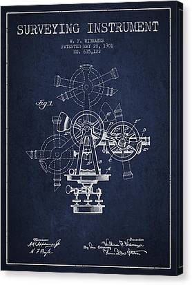 Surveying Instrument Patent From 1901 - Navy Blue Canvas Print by Aged Pixel