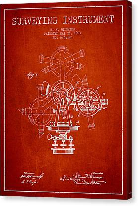 Surveying Instrument Patent From 1901 - Red Canvas Print by Aged Pixel