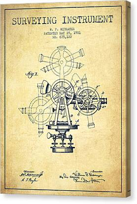 Surveying Instrument Patent From 1901 - Vintage Canvas Print