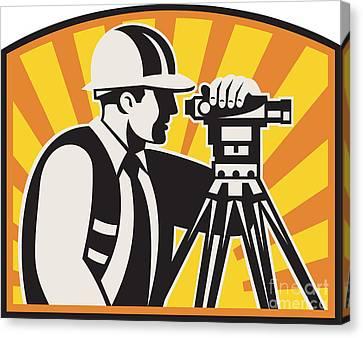 Workers Canvas Print - Surveyor Engineer Theodolite Total Station Retro by Aloysius Patrimonio