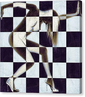 Survive Nude Woman Checkered 2 Canvas Print by Tony Rubino