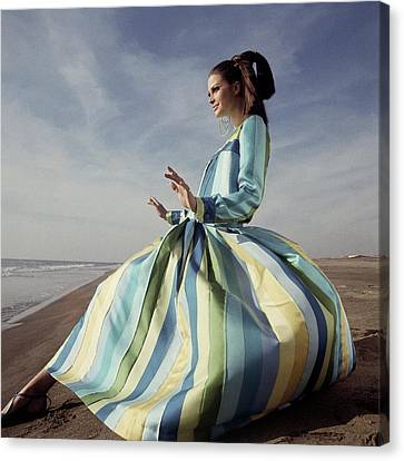 Sand Pattern Canvas Print - Susan Murray Posing On A Beach by Henry Clarke