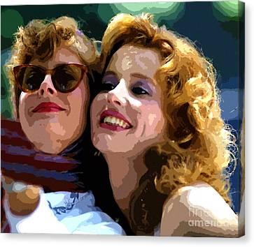 Susan Sarandon And Geena Davies Alias Thelma And Louis - Watercolor Canvas Print by Doc Braham