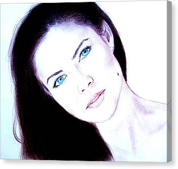 Susan Ward Blue Eyed Beauty With A Mole II Canvas Print by Jim Fitzpatrick