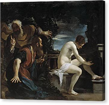 Susanna And The Elders Canvas Print by Guercino