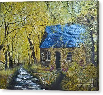 Canvas Print featuring the painting Susan's Cottage by Suzette Kallen