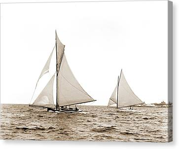 Susie And Ione, Susie Yacht, Ione Yacht Canvas Print by Litz Collection