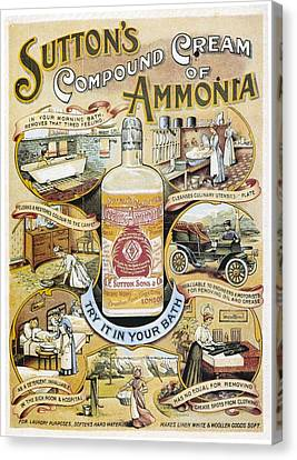 Canvas Print featuring the photograph Sutton's Compound Cream Of Ammonia Vintage Ad by Gianfranco Weiss