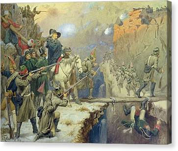 Suvorov Crossing The Devils Bridge In 1799, 1880 Wc On Paper Canvas Print