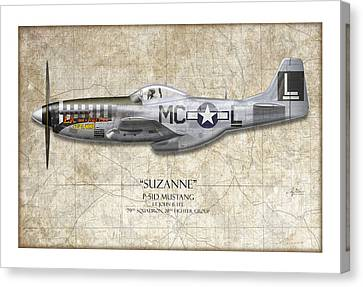 Suzanne P-51d Mustang - Map Background Canvas Print by Craig Tinder