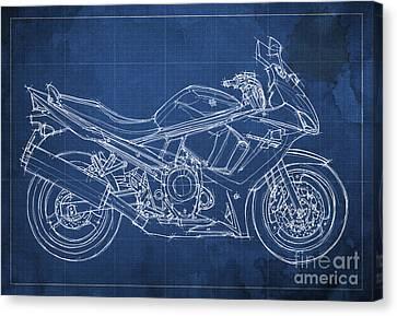 Suzuki Gsx 650f 2011 Blueprint Canvas Print by Pablo Franchi