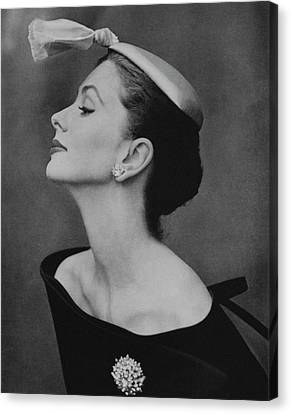 1954 Canvas Print - Suzy Parker In An Off-the-shoulder Dress by John Rawlings