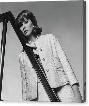 Suzy Parker Wearing A Chanel Suit Canvas Print by Horst P. Horst