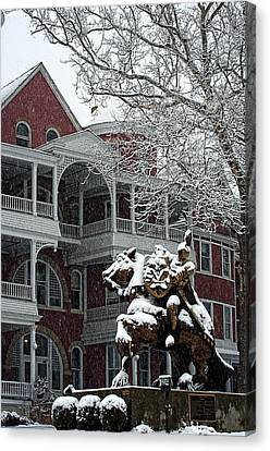 Southern Virginia University Knights In The Snow Canvas Print by Cathy Shiflett
