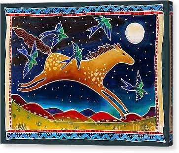 Swallows And The Midnight Mustang Canvas Print by Harriet Peck Taylor