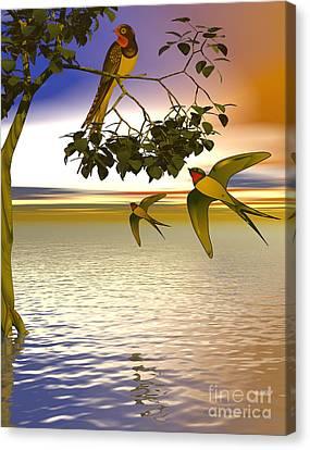 Swallows At Sundown Canvas Print