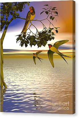 Canvas Print featuring the digital art Swallows At Sunset by Sandra Bauser Digital Art