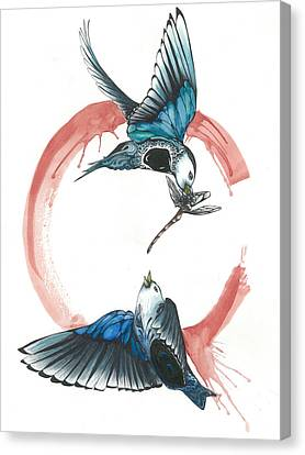 Swallows Fighting Over Dragonfly Canvas Print